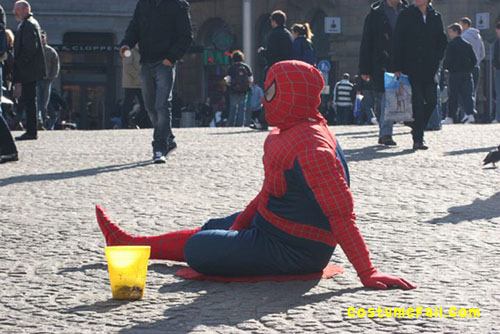spiderman panhandling